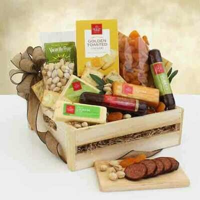 Sausage & Cheese Wooden Crate